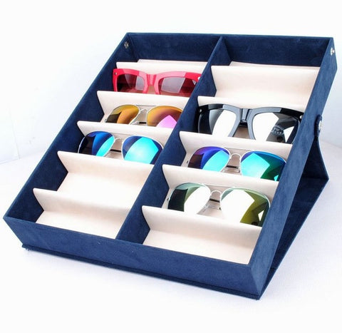 Quality glasses storage box 12 grid deerskin sunglasses display box Sunglass Organizer Box Eyewear Storage Usage 12 Compartment