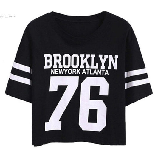 Summer Cropped Top Female BROOKLYN 76 Print Number Top Casual Short Sleeve Letters Print Monogrammed Crop T-Shirt - On Trends Avenue