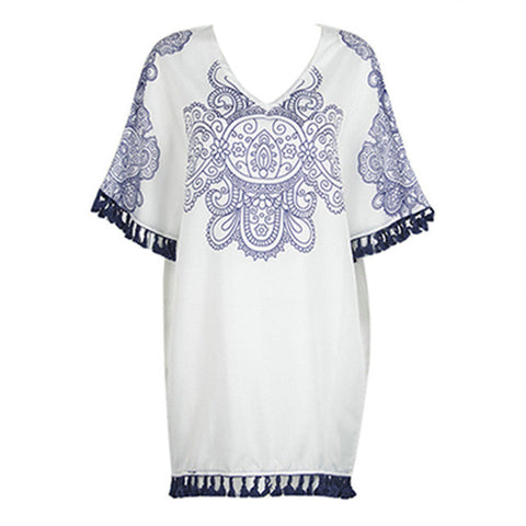 Women V-Neck Summer White Floral Beach Cover-ups tassells - On Trends Avenue