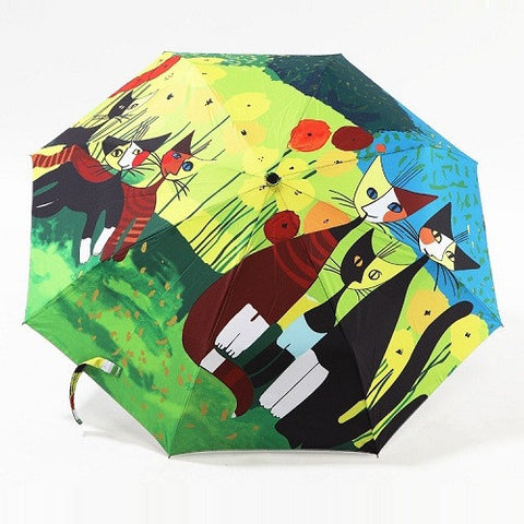oil painting cat pattern rain/ sun umbrella,3 Folding Thickening Anti UV fashion abstract art design women umbrella - On Trends Avenue