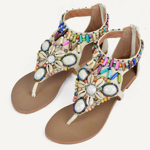 HEE GRAND Vintage Gladiator Sandals Beaded Summer Flats Platform Shoes Woman Slip On Rhinestone Women Shoes Size 35-41 XWZ2078 - On Trends Avenue