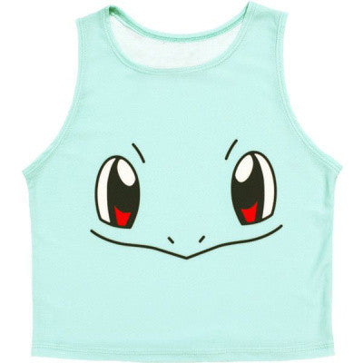 Pokemon Pattern Crop Top Women Camis Pikachu Charmander Squirtle Print tank tops Colorful sleeveless Tee Vest - On Trends Avenue