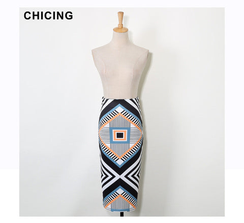 CHICING Women Ethnic Wrap Skirts Retro Geometric Striped Printed High Waist Summer Tube Bodycon Pencil Midi Saias A1604007 - On Trends Avenue
