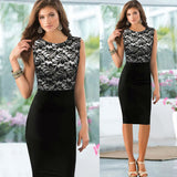 2017 European Style Women Work Lace Dress Black Vestido Floral Sleeveless Tunic Bodycon Evening Party Pencil Office Dress - On Trends Avenue