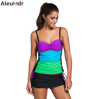Aleumdr Tie Dye Print Colorblock Bandeau Tankini Skort Set Push Up Bikini Swimsuit Women Bathing Suits Biquinis Feminino 41963 - On Trends Avenue