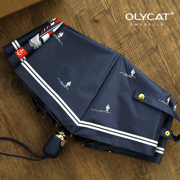 Olycat Brand Women Folding Umbrella Rain Fully Automatic Sailboat Style Brand Quality Windproof 8K Pongee Navy Paraguas - On Trends Avenue