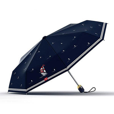 Olycat Brand Women Folding Umbrella Rain Fully Automatic Sailboat Style Brand Quality Windproof 8K Pongee Navy Paraguas