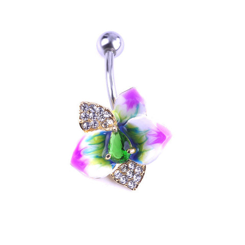 Fashion Enamel Esmalte Violetta Zircon Flowers Navel Piercings Belly Button Rings Bikini Women Girl Body Jewelry Bijoux Nombril - On Trends Avenue