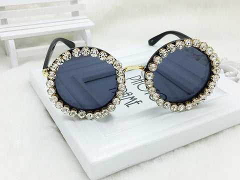 Big Designer Handmade Vintage Polit &Round  Sungalsses Crystal&Rhinestone Luxury ladies Sunglasses Beach&Party Women Sunglasses - On Trends Avenue