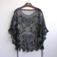 high quality Women's Summer Blusas Femininas Loose Hollow Blouse Chiffon Lace Perspective Bat Shirt Women Cardigan 803J 38 - On Trends Avenue