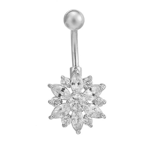 Fashion Crystal Flower belly button rings surgical steel Body Jewelry Sexy Navel Piercing - On Trends Avenue