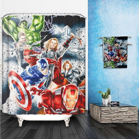 Marvel Shower Curtains Pattern Customized Shower Curtain Waterproof Bathroom Fabric 165x180cm Shower Curtain For Bathroom