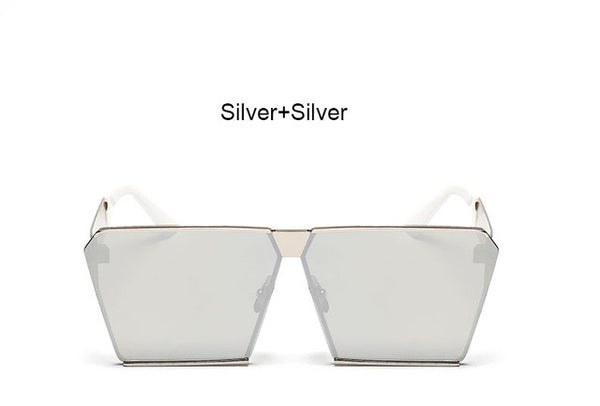New Square Cool sunglasses men women Flat Top Mirror Sun Glasses Lady Eyewear Full Metal Large Oversized Size Female - On Trends Avenue