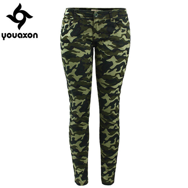 Chic Camo Army Green Skinny Jeans For Women Femme Camouflage Cropped Pencil Pants, Plus Size available - On Trends Avenue