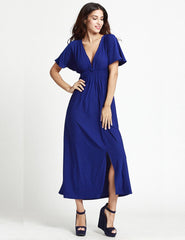 New Women Summer Dress Plus Size 5XL 6XL Sexy Club Dress Deep V Neck Solid Long Maxi Dress Blue/Red Elegant Party Dresses - On Trends Avenue