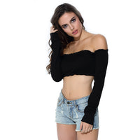Aproms 2017 Black Knitted Crop Top Women Short T-shirt Sexy Off Shoulder Bar Tank Top Camisole Casual 90s Girls Party Tops 21269 - On Trends Avenue