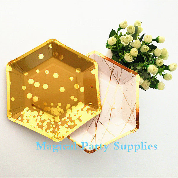 24pcs Small Gold Paper Plates Gold Foil 7 Inch Hexagonal Plates Disposable Paper Plates Wedding Copper Party Plate - On Trends Avenue