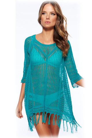 Bathing Suit Cover Up Pareo  Crochet Knit Hollow Tunic S - On Trends Avenue