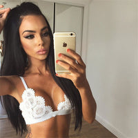 New Fashion Summer Sexy black white v-neck Lace Bralette Camisole Bralet Bustier Spaghetti Strap Camis Cropped Tops - On Trends Avenue