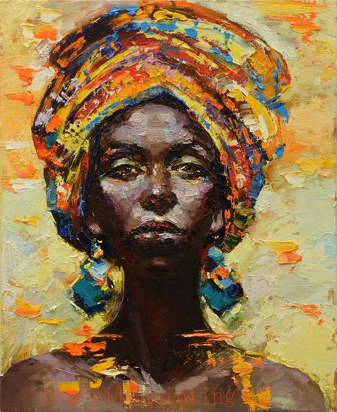 Handmade Modern Abstract African Woman Portrait Knife Canvas Oil Paintings Wall Decorative Hand Paint Sexy Lady Acrylic Pictures - On Trends Avenue