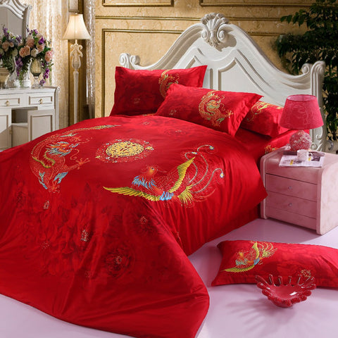 Chinese wedding Bedding Set Red Dragon Bed Linens Bed Sheet Set Bedclothes Queen Size 4 pieces Bed cover Set - On Trends Avenue