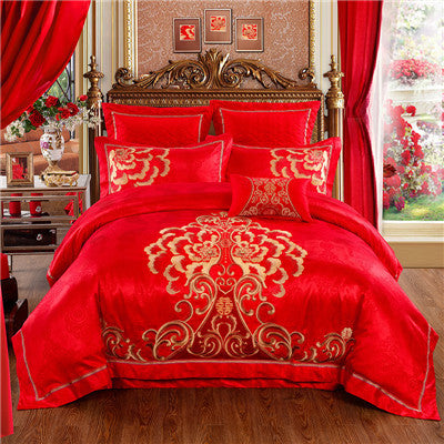 High-Quality wedding bed set bedding golden embroidery cotton satin red bedding set 4pcs/set  Duvet cover set Chinese style - On Trends Avenue