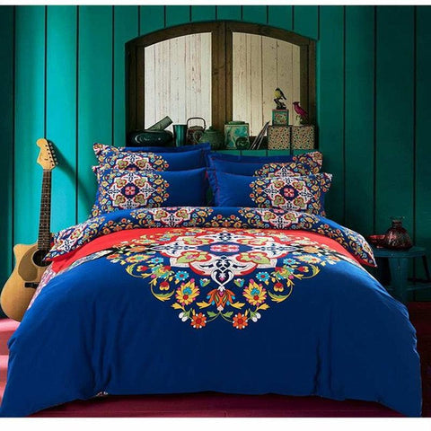 bohemia/boho red bedding set queen king size,4pcs sanded cotton winter bedclothes bed sets duvet/quilt cover bed linen sheet - On Trends Avenue