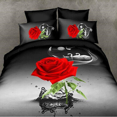 4 pieces 3D Floral Duvet Cover Double Bed Linen Bed Sheet Set Red Rose Bedding Sets Flower Bedspreads King Size - On Trends Avenue