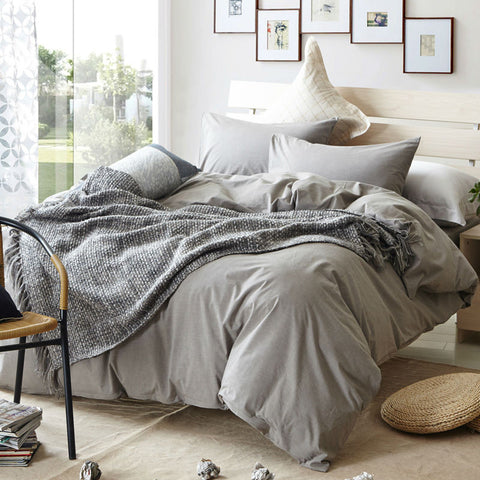 Grey Brief Plaid Design Bedding Set Queen king twin Size Duvet cover set 100% washed Cotton - On Trends Avenue