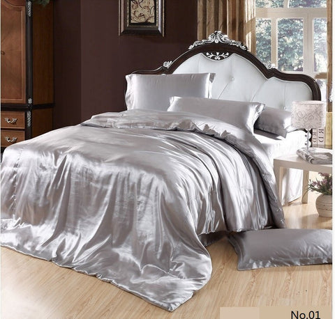 7pcs Silver Satin Silk grey bedding set Super California king queen size quilt duvet cover sheets bed sheet bedspread Custom - On Trends Avenue