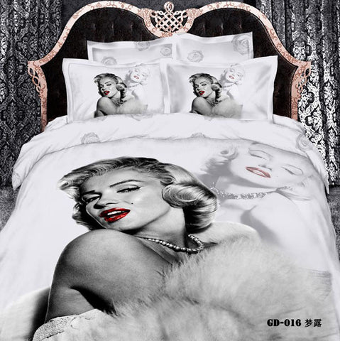 6pcs per set 3D Grey Marilyn printed bedding set - On Trends Avenue