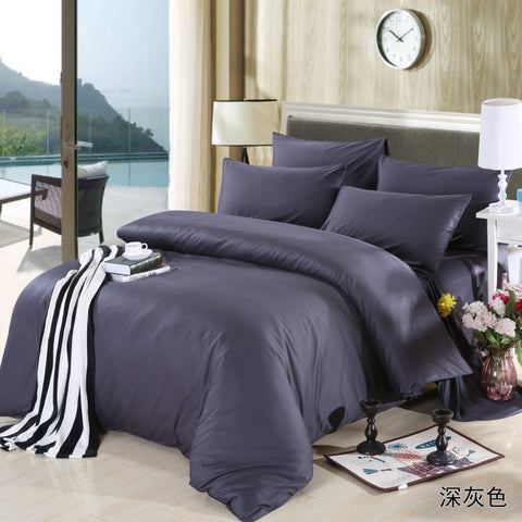 New Dark grey theme high quality home bedding set, 2 pillow case, 1 bed sheet and 1 duvet cover bed cover - On Trends Avenue