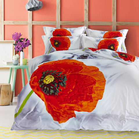 3D Floral Print Red Poppy and Grey Daisy Designer Bedding Set Pure Cotton Textile Bedlinen Pillowcase Duvet Cover Set Queen Size