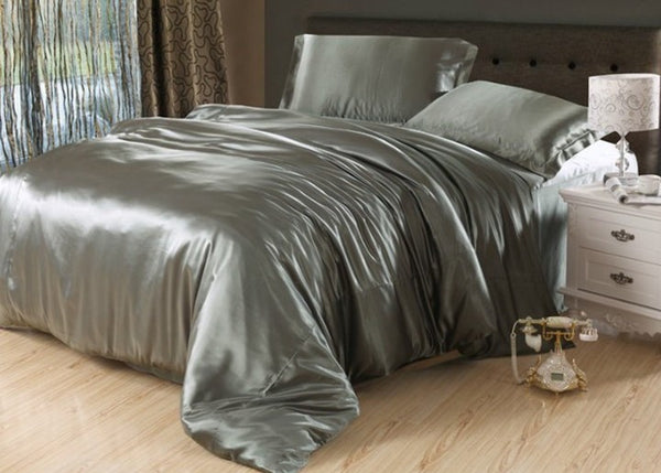 7pcs Silver grey silk bedding set satin sheets Cal king queen full twin size quilt duvet cover fitted bed in a bag bedroom linen - On Trends Avenue