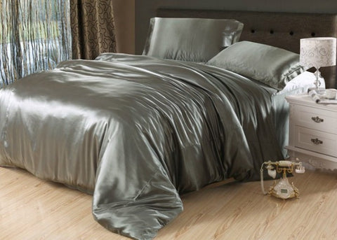 7pcs Silver grey silk bedding set satin sheets Cal king queen full twin size quilt duvet cover fitted bed in a bag bedroom linen