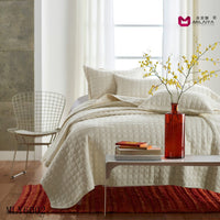 AIOU Ivory White King Size Bedspread Coverlet Comforter Cotton 3pcs Quilt Set With Pillow Shams - On Trends Avenue