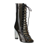 FF48 Women's Peep Toe Corset Lace Up Lucite Heel Mid Calf Summer Boots - On Trends Avenue
