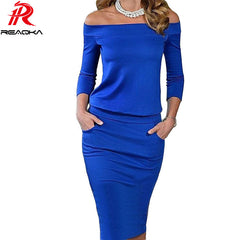 New Style Summer Dress Three Quarter Sleeve Slash Neck Womens Sexy Fashion Dresses Casual Party Night Blue Black Club Dress - On Trends Avenue