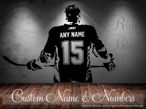 Custom Hockey player Wall art Decal sticker Choose Name number Custom decor boy bedroom