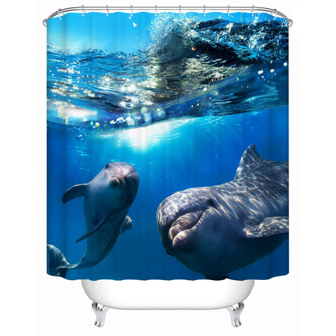 New Two Dolphins Waterproof Shower Curtain Bathroom Curtain Eco-Friendly High Quality Fabric Shower Curtain Y-197