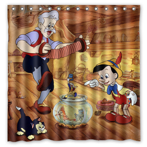 Pinocchio Bath Shower Curtain 180x180cm Fashional Waterproof Polyester Bathroom Curtains Include 12 White Hooks - On Trends Avenue