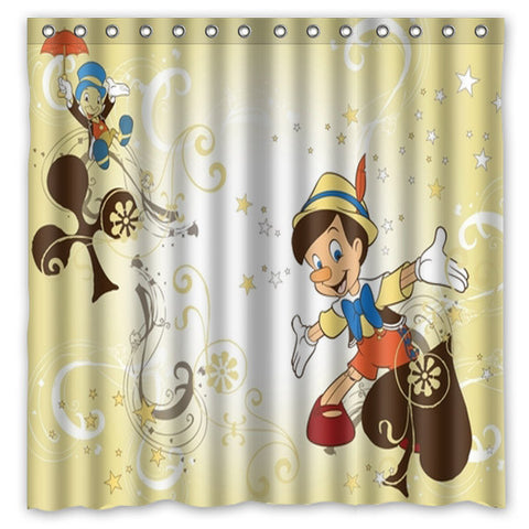 Pinocchio Bath Shower Curtain 180x180cm Fashional Waterproof Polyester Bathroom Curtains Include 12 White Hooks