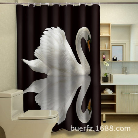 Waterproof polyester shower curtains  art swan 3D shower curtain black shower curtains unique shower curtain for bathroom - On Trends Avenue