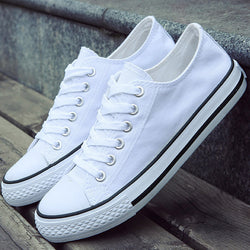 Women White Canvas Shoes Flat Ladies Gumshoe Female Trainers Girl - On Trends Avenue
