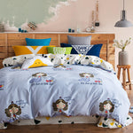 Papa&Mima Cute Mermaid Fish Blue Queen King Size Duvet Cover Sets Bedding Soft Thick Sanding Cotton Bedlinens Flat Sheets - On Trends Avenue