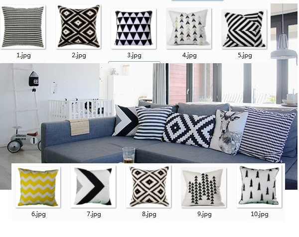 Nordic scandinavian Cushion Geometric pillows case decoration geometric throw pillows cushions black and white cushion - On Trends Avenue