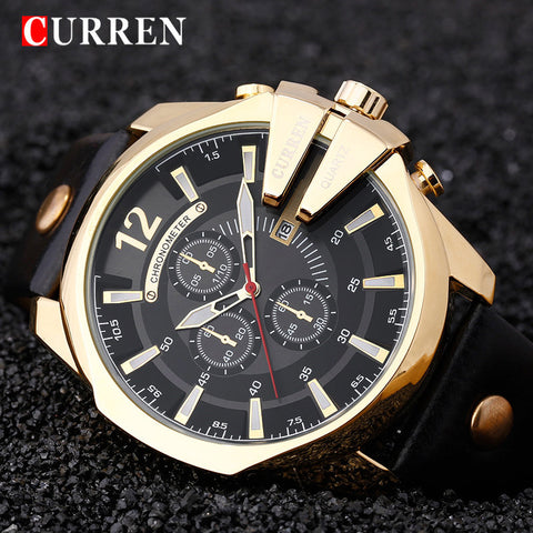 CURREN Big Dial MenS Watches Top Luxury Brand Blue Quartz Military Wrist Watch Men Clock Men's Watch Relogio Masculino - On Trends Avenue