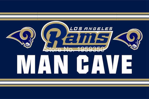 Los Angeles Rams Man Cave Sport Team Digital Printing Flags Banners 3FTx5FT 100D Polyester Flag metal Grommets 90*150 CM - On Trends Avenue