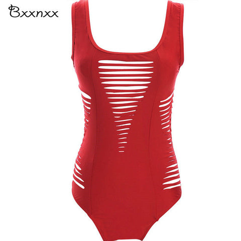 Black Red Color Swimsuit Hollow Out One Piece
