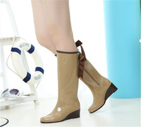 2017 Tall Boots Fashion Bow-knot Anti-slip Water Shoes 36-40 Plus Size Outdoor Waterproof Women Sweet Style Rain Boots Hot Sale - On Trends Avenue